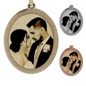 Framed oval photo pendant